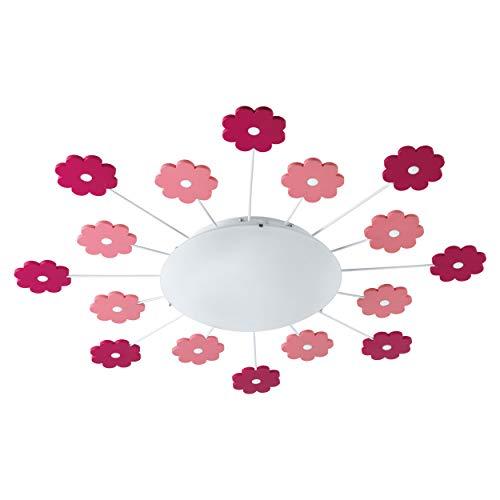 EGLO Deckenleuchte Viki 1 mit pinken und rosafarbigen Blumen Durchmesser 61,5cm Kinderzimmerleuchte Mädchen und Jungen, Stahl, Ø 61, 5 cm