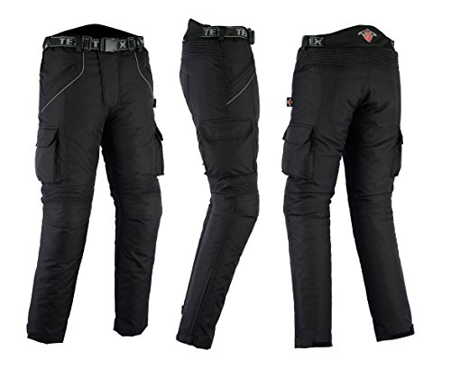 Texpeed - Motorradhose mit Protektoren - Wasserdicht - Schwarz - W42 L30