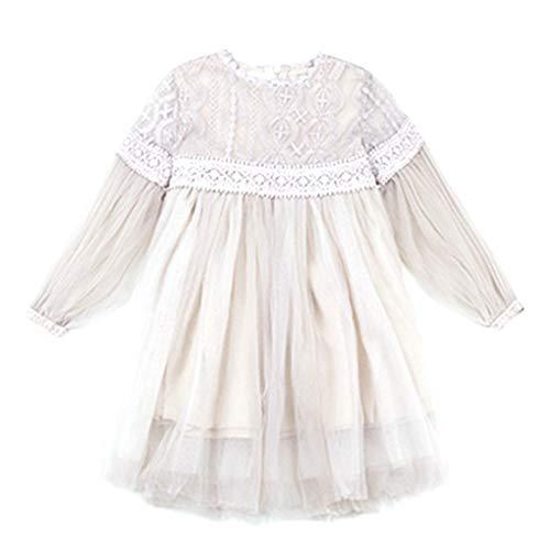 Uzinb Pure Color Lace Floral Mädchen-Prinzessin Kostüm mit Langen Ärmeln Rundhalsausschnitt-Over-Knie-Kleid-Geschenk