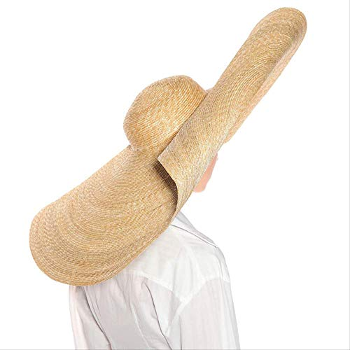 CLSWK Strohhut Übergroße Riesen Strohhüte Für Frauen Sommer Sonnenhut Große Krempe Floppy Hochzeit Party Hut Strandkappe Urlaub 30 cm (11,9 Zoll) Natürliche Mit Rolle
