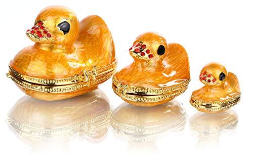 Yufeng Schmuckkästchen für die Familie Ente Ostertag Geschenke für Sie für Ihn, Geburtstagsgeschenk für Frauen, feine Zinn-Boxen mit Schmucksteinen und Schmuck-Halter, Scharnier-Ente (Ihn Zinn Geschenke Für)