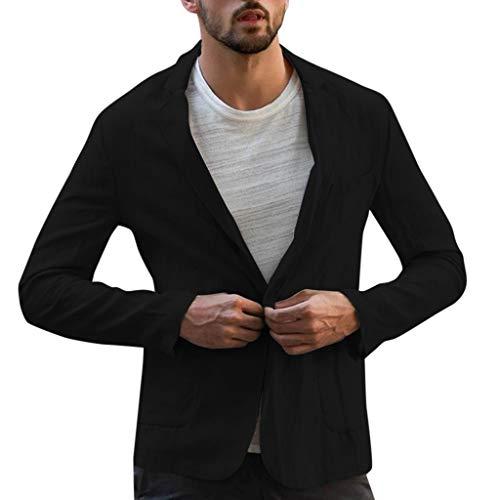 LOLIANNI Herren Slim Fit Leinen Mischung Tasche Outwear männlich einfarbig Langarm Anzüge Blazer Jacke Outwear Tops - Leinen-mischung-anzug-jacke