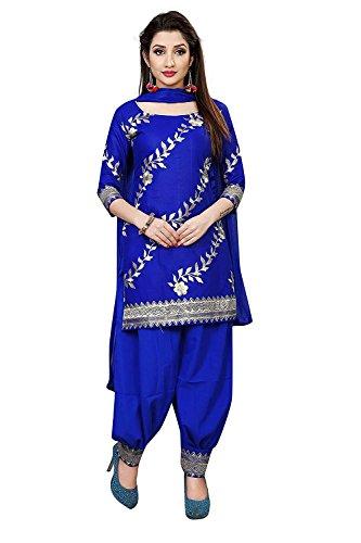 Fashion Blue Cotton Silk Salwar Suits/Patiala Dress Material Suit for Women Patiala Suit