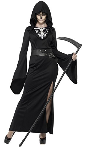 Fancy Ole - Damen Frauen Lady Sensenmann Halloween Horror Kostüm Karneval , Schwarz, Größe XL