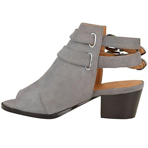 Senhoras Novas Volta Recorte Baixo Bloco Salto Ocidentais Sandálias Fivela Cowboy Dimensionar Cinza Arte Camurça
