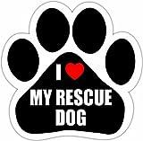E&S Pets I Love My Rescue Dog Aimant de Voiture avec Unique Design en Forme de Pattes Mesure 5.2par 13,2cm...