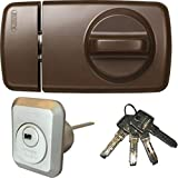 ABUS Tür-Zusatzschloss 7010 B braun, EC550, Kastenschloss mit Drehknauf, mit 4 Schlüssel, Ausführung EK (Metallausführung)