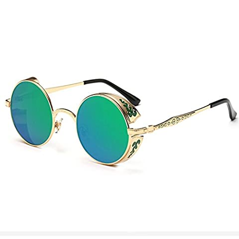 LHWY Femmes hommes été Vintage Retro lunettes de soleil ronde lunettes de soleil lunettes aviateur miroir lentille (Or, Vert)