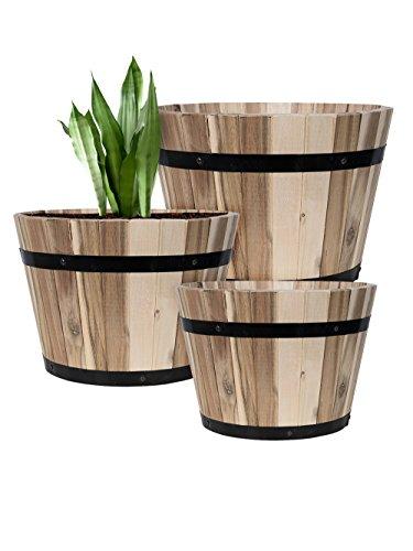 Bild zu PFLANZWERK® Pflanzkübel Holzfass Ø46cm 100% BIO-AKAZIENHOLZ Weinfass *Frostbeständiger Blumenkübel* *UV-Schutz* *Qualitätsware*