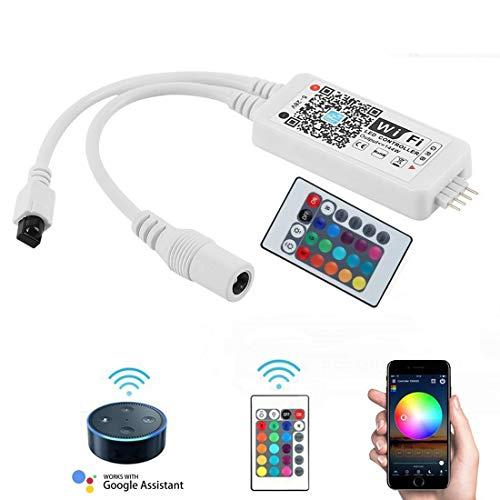 Opard RGB Led Streifen Kontroller,Wifi/App gesteuert,Dimmer Ausgang 3 Kanäle Arbeiten für Android/IOS System 5V-28V 16 Millionen Farben,20 Dynamische Modi,Sound Aktiviert Band Mini-handy