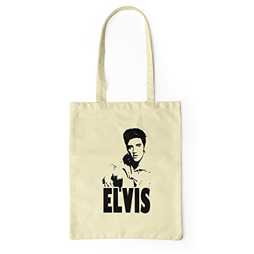 LaMAGLIERIA Stoffbeutel Elvis Rock Icon - tote bag shopping bag 100% baumwolle, Natural (- Icon-canvas-tote)