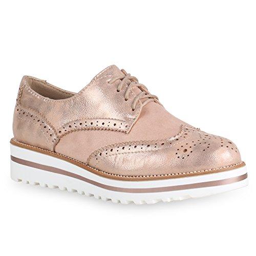 Stiefelparadies Damen Schuhe Halbschuhe Brogues Schn?RER Metallic Glitzer Freizeit 154164 Rose Gold 38 Flandell