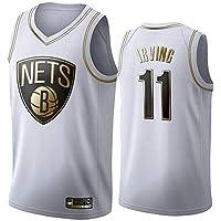 Camiseta de Baloncesto Kyrie Irving para Hombre, Camisa de Baloncesto Retro Brooklyn Nets # 11 Retro Verano Uniforme de Baloncesto Tops Bordados Se Puede Lavar repetidamente (Oro Negro)-White-L