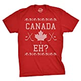 Crazy Dog Tshirts - Mens Canada Eh Ugly Christmas Sweater Canadian Pride Holiday T Shirt (Red) 4XL - Herren - 4XL