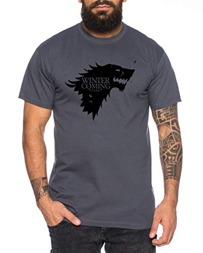 Tee Kiki Coming Game Maglietta da Uomo Cool Thrones Shirt, Farbe2:Grigio...