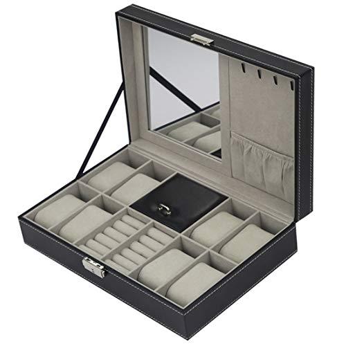 Leder Schmuckschatulle 8 Slots Watch Organizer Storage Kissenbezug mit Secure Lock und Spiegel für Männer und Frauen, Uhrenständer für Kommode schwarz - Kommode, Spiegel, Brust