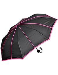 Regenschirm Taschenschirm Schwarz Mit Streifen In Neonfarben Schirme verschiedene Farbe Reisen
