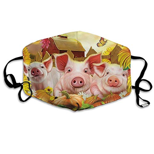 Unisex Mouth Mask Three Cute Farm Pink Pig Polyester Anti-dust Masks Washed Reusable Face Mask for Outdoor Cycling (Farm Animal Tubes)