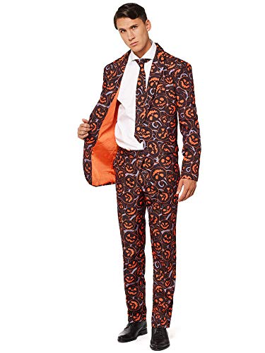 OFFSTREAM Adult Halloween Scary Pumpkin Costume Suit for Men Includes Pants Jacket Tie (Verrückt Suits Mens)