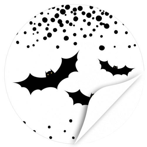 Halloween Dekoration/Aufkleber/Sticker/48 Stück/Drei Fledermäuse Schwarz Weiss zum Kleben/Dekorieren/Selbstklebend/Rund, 4cm