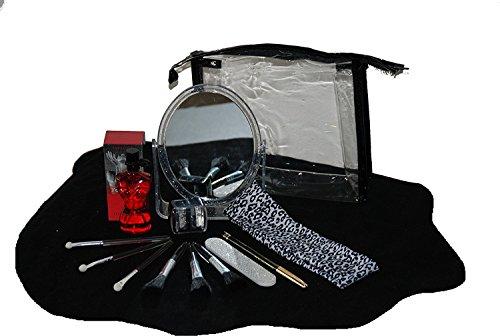 Geschenkset mit Beauty Applikatoren Schmink Pinsel Strass Armband Parfüm Spiegel Kosmetiktasche