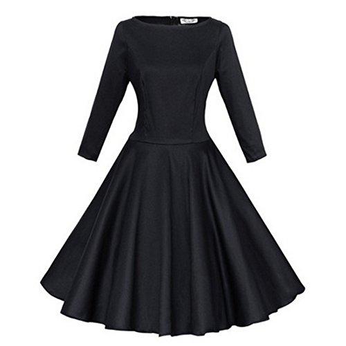 M-Queen Femmes Elégant Robe Jupe Bulle Manches Longues Sexy Tunique Dress Maxi Robe Pour Cocktail Party Mariage Soirée Noir