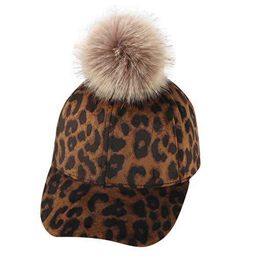 uBabamama_Hat Fashion Cap für 2–9 Jahre, Unisex Baby, Leoparden-Print, Big Hair Ball Plüsch Warm Baseball Cap Hat, g, Einheitsgröße