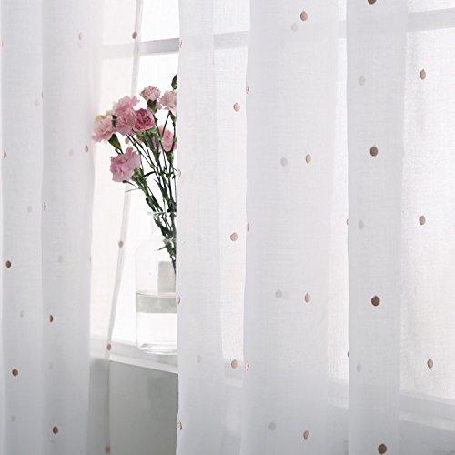 Deconovo Cortina Infantil Translucida Cortina para el Salón Moderno 2 Paneles 140 x 290 cm Rosa a Lunares