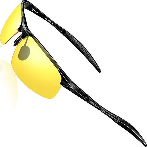 SIPLION Herren Nachtsichtbrille Glasses Nachtfahrbrille Sonnenbrillen Al-Mg Metallrahme Ultra leicht 8177 Night Vision