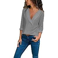 Damen T Shirt,Geili Frauen Herbst Casual Langarm Tief V-Ausschnitt Tasten Einfarbig Bluse Tops T Shirt Damen Langarmshirt... preisvergleich bei billige-tabletten.eu