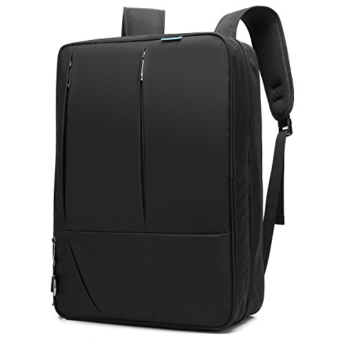 CoolBELL 17,3 Zoll umwandelbar Aktentasche Rucksack Messenger Bag Umhängetasche Business Briefcase Mehrzweck Travel Backpack Notebook Schultertasche Laptop Tasche für Laptop / Macbook / Tablet / Herren / Damen(Schwarz) (Messenger Travel Bag)