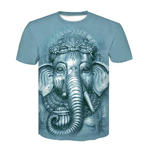 Top de Cuello Redondo Camiseta de Verano para Hombre Camiseta de Elefante 3D Camiseta de Cuello Redondo para Hombre Camiseta de Manga Corta_XXXXL