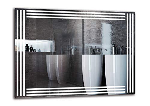 Espejo LED Premium - Dimensiones del Espejo 80x60 cm - Espejo de baño con iluminación LED - Espejo...