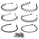 Whaline 6 Stück Unisex Haarreifen Feder Welle Haarband, Metall Stirnbänder und Kunststoff Haarreif mit 50 Stück Haargummis für Herren Frauen Sport Kopfschmuck ( Schwarz )