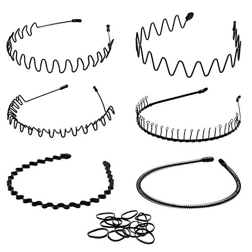 Whaline 6 Stück Unisex Haarreifen Feder Welle Haarband, Metall Stirnbänder und Kunststoff Haarreif mit 50 Stück Haargummis für Herren Frauen Sport Kopfschmuck (...