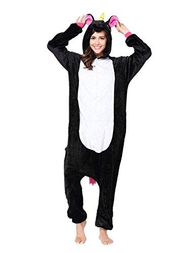 Minetom Flanell Karikatur Tier Pyjama Kostüm Für Halloween Karneval Fasching Unisex Erwachsene Schlafanzug Jumpsuit Anime Cosplay Einhorn Schwarz (Freund Mit Ihrem Halloween Besten Kostüme)