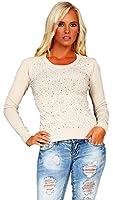 10201 Fashion4Young Damen Langarm-Pullover mit Strass Pulli verfügbar in 6 Farben 2 Größen