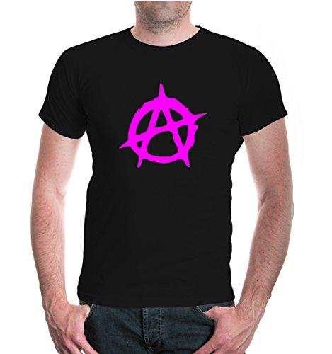 buXsbaum T-Shirt Anarchie-Symbol-XXL-Black-Neonpink (Anarchie-shirt Für Frauen)
