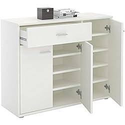 CARO-Möbel Schuhschrank DEUSTO Schuhregal Schuhkommode mit 1 Schublade und 3 Türen in weiß