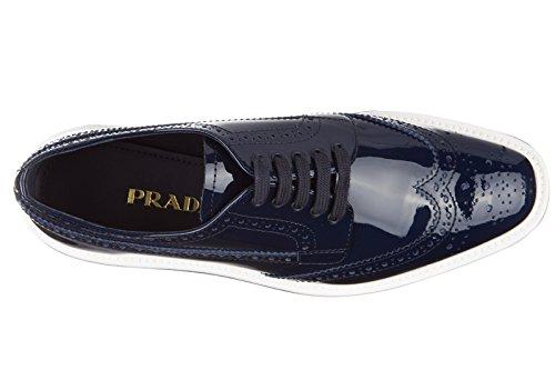Prada chaussures à lacets classiques femme en cuir brogue blu Blu