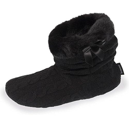 Isotoner - Pantofole a stivaletto da Donna Nero