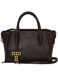 b4a112fab3a54 SILVIO TOSSI Damen Leder Handtasche Schultertasche Dunkelbraun Modell  11526-01