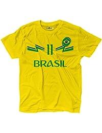 KiarenzaFD Camiseta Camiseta Fútbol Philippe Coutinho Sami Brasil 11 Hombre, KTS01895-L-yellow