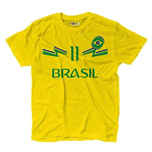 KiarenzaFD T-Shirt T-Shirt National Football Philippe Coutinho Brésil 11Homme, KTS01895-M-yellow, Jaune, M