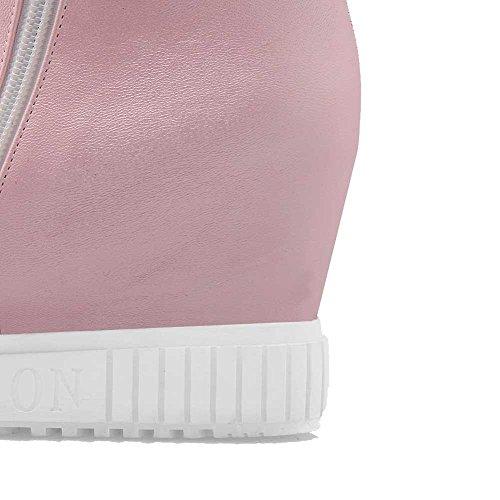 VogueZone009 Damen Niedrig Spitze Rein Reißverschluss Stiefel mit Metallisch Pink