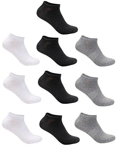 Aibrou Lot de10 paires de socquettes Chaussettes Hommes,Comfortables et Respirantes, Socquettes de Sport Unisex coton et élasthanne Chaussettes de Sport  ,4 Noir/3 Gris/3 Blanc ,38-46 EU