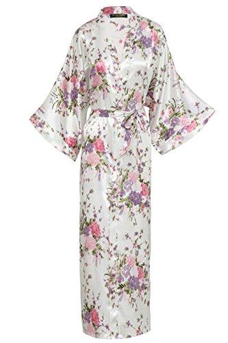 BABEYOND Damen Morgenmantel Maxi Lang Seide Satin Kimono Kleid Blütenkirsche Muster Kimono Bademantel Damen Lange Robe Blumen Schlafmantel Girl Pajama Party 135 cm Lang (Weiß) (Girls White Party Kleider)