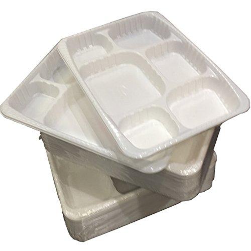 Lebensmittel 400stark Premium Heavy Duty weiß Kunststoff 6fach Teller Platten-Tabletts-Größe 22,9x 30,5cm-Einweg Thali Gujarati Panjabi Buffet Feast Funktionen Hochzeiten Celebration Geschirr