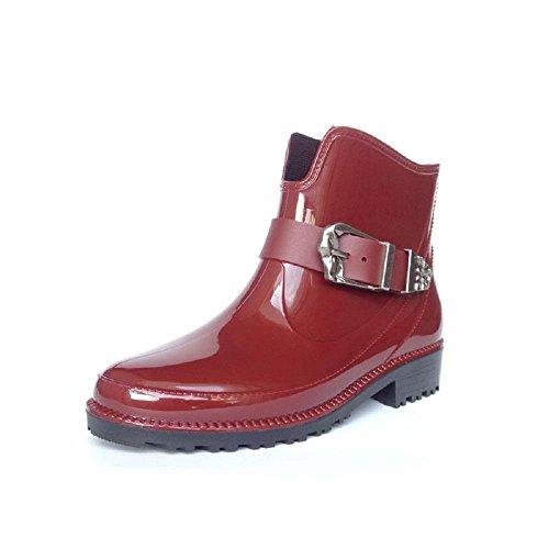 primavera autunno inverno stagione Ms. slittata stivali da pioggia Red