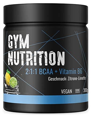 GYM-NUTRITION® — BCAA + VITAMIN B6 – Amino-Säuren hochdosiert, vegan – Leucin, Isoleucin, Valin – 2:1:1 Aminosäure-Pulver – Made in Germany – Geschmack: ZITRONE-LIMETTE